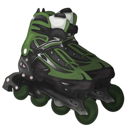 rollerskates: Roller-skates illustration  fitness, foot, footwear, fun, graphic Illustration