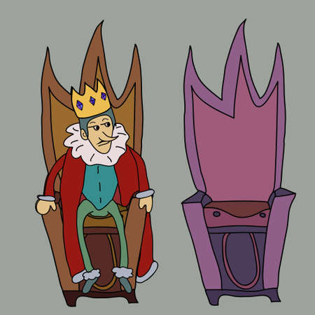 czar: King on throne illustration story, symbol Illustration