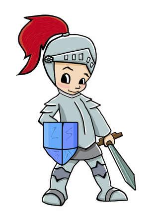 knight cartoon boy illustration soldier boy Illusztráció