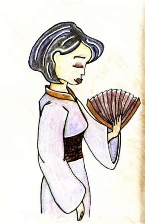 china watercolor paint: geisha illustration set symbol