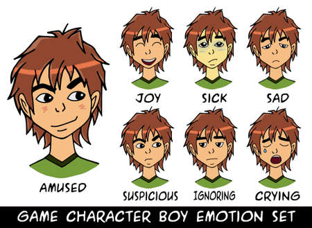 charismatic: game character boy emotions set illustration. Made with love