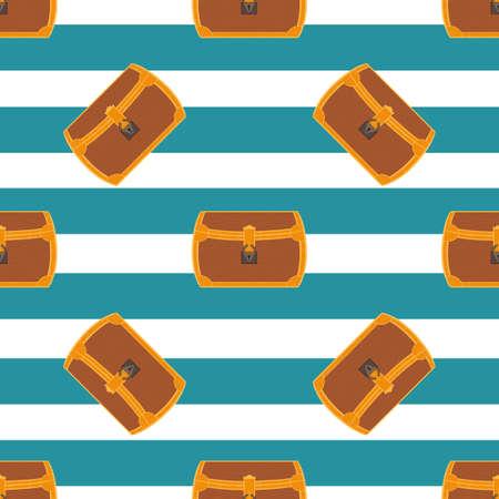treasure trove: Pirate chest seamless pattern cartoon illustration