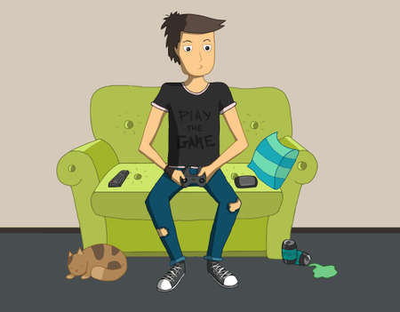 playing video games: Gamer sitting at home and playing video games