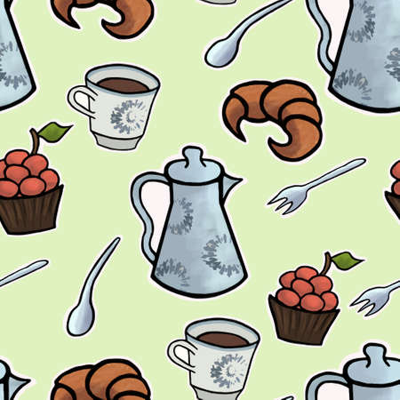 english tea: English tea ceremony vector seamless pattern illustration