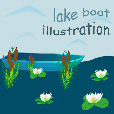lily pads: Lake boat plants water cartoon vector illustration Illustration