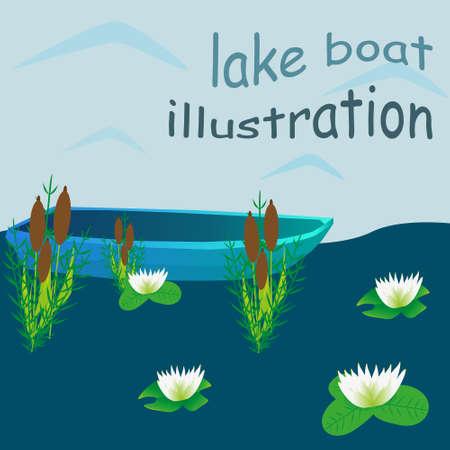 Lake boat plants water cartoon vector illustration Illustration