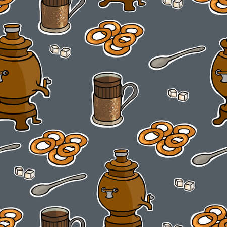 tea ceremony: Russian tea ceremony vector seamless pattern illustration