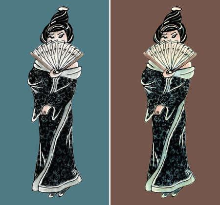 east: Hand drawn geisha illustration set east girl Illustration