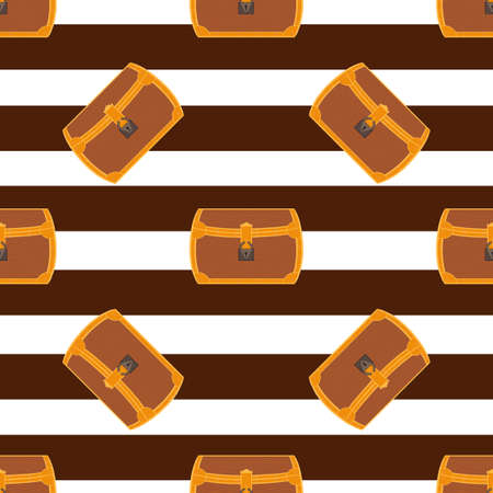 Pirate chest seamless pattern cartoon illustration