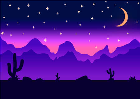 2d wallpaper: Desert parallax background deep night illustration Illustration