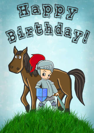 horse and knight happy birthday card illustration