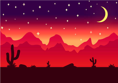 scroller: Desert parallax background night illustration for game Illustration