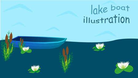 lily pads: Lake boat plants water cartoon illustration