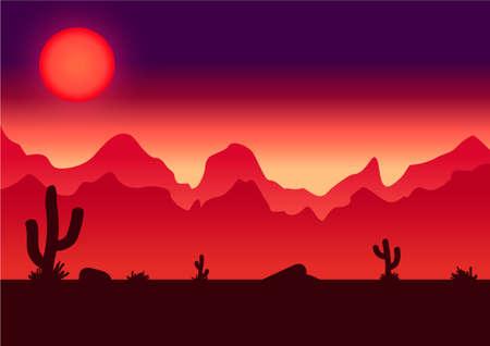 Desert parallax background illustration for game