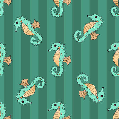 oceanside: Seahorse seamless illustration nature ocean life Illustration