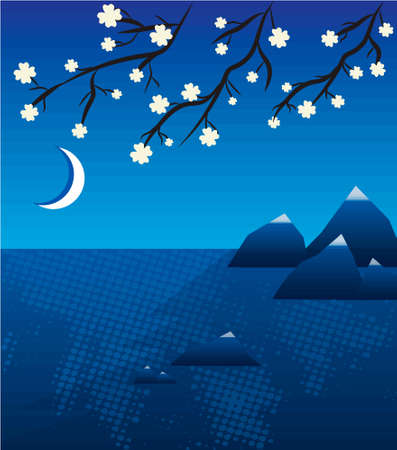 sumi e: Lake landscape with sakura in japan illustration