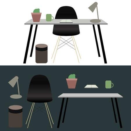design office: Office workplace concept, design illustration Illustration