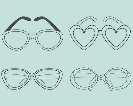 corrective lenses: Glasses Icons Set. illustration. Elements for design