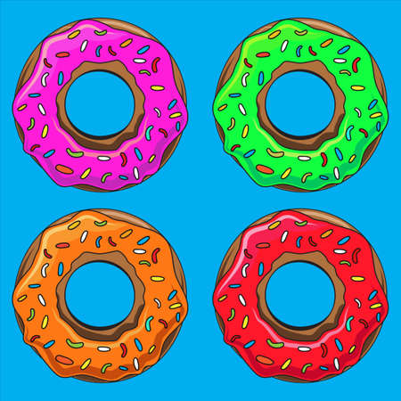 glaze: Donut with sprinkles illustration set. Into the glaze collection