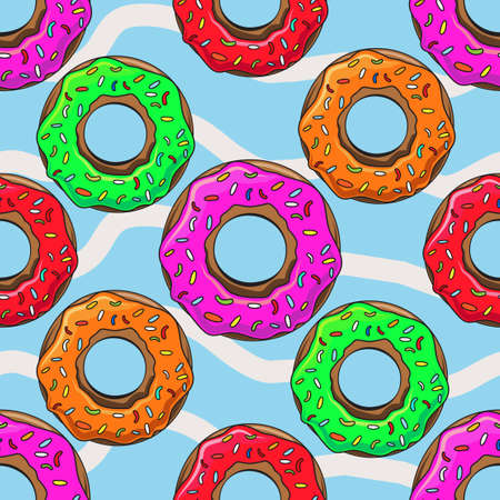 glazing: Cute Donuts with colorful glazing. Seamless pattern illustration