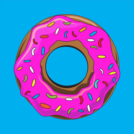 sprinkles: Donut with sprinkles isolated vector illustration