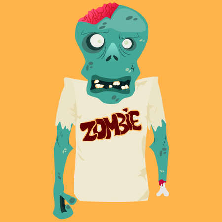 Vector illustration of Cartoon zombie. Halloween