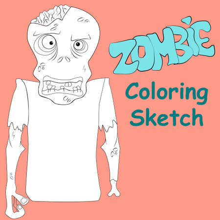ghoulish: Zombie coloring sketch vector illustration. Make it bright!