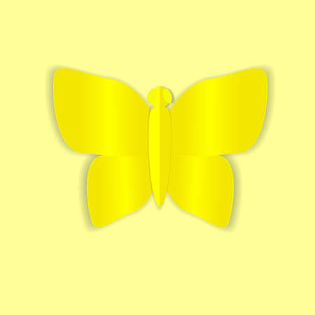 yellow butterfly: The illustration shows a yellow butterfly with the effect of paper.