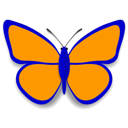convoluted: A blue and orange paper butterfly