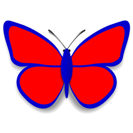 youthful: A red and blue paper butterfly