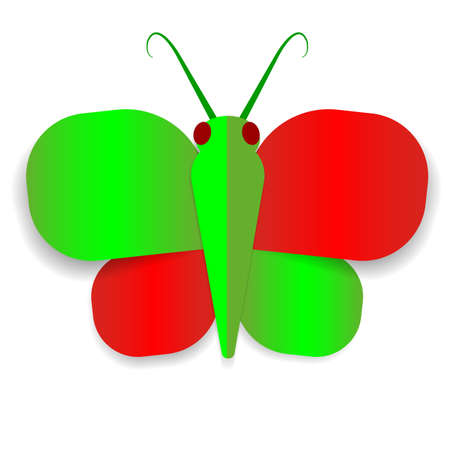 youthful: A red and green paper butterfly on a white backrground