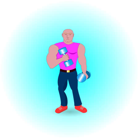 muscular: A muscular man with dumbbells in his hands.