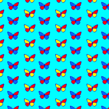 convoluted: seamless pattern with butterflies on a blue background. Illustration