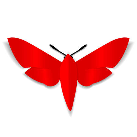 youthful: A red paper butterfly with black mustache.