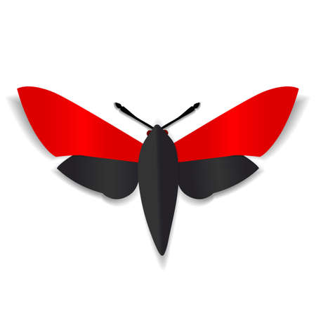 red eyes: A black and red paper butterfly with dark red eyes.
