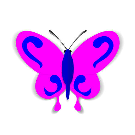convoluted: A pink paper butterfly with a blue ornaments. Illustration