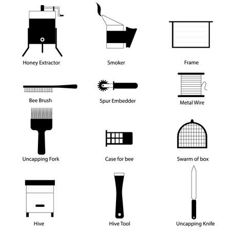 beekeeping: Icons beekeeping equipment and tools