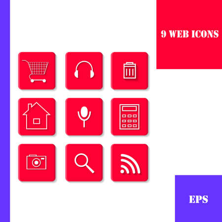 Set of stylish red flat icons for web