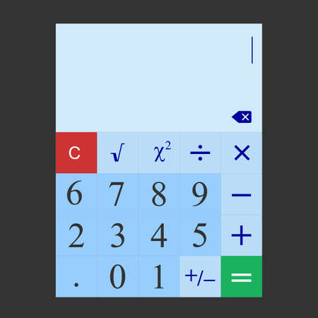 computational: The illustration of a simple calculator that can be used for electronic programs on computers, tablets, smartphones and other devices. Stock Photo