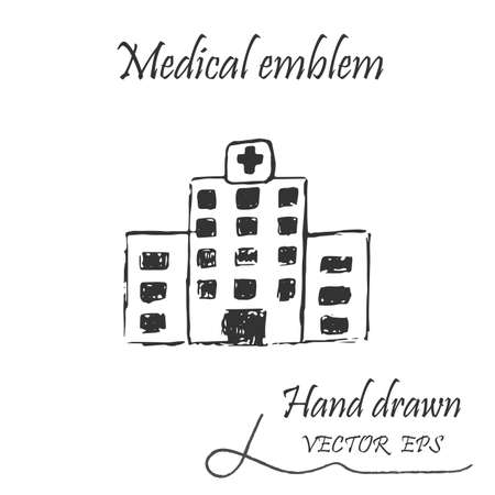 health facility: Health facility icon. Web medical icon, drawn by hand with a pencil Illustration