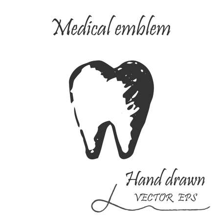 dentin: Human tooth icon. This emblem is drawn with a pencil.