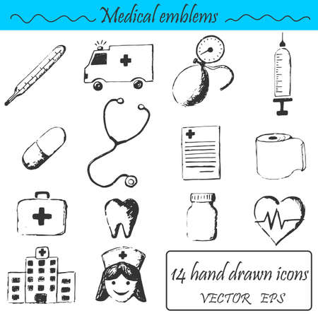 geneticist: A set 14 medical icons. This emblem is drawn with a pencil.