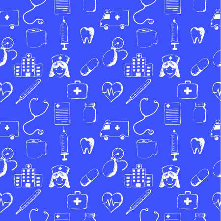 geneticist: Blue seamless pattern-medical items. This illustration is drawn with a pencil. Illustration