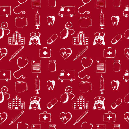 odontolith: Red seamless pattern-medical items. This illustration is drawn with a pencil. Illustration