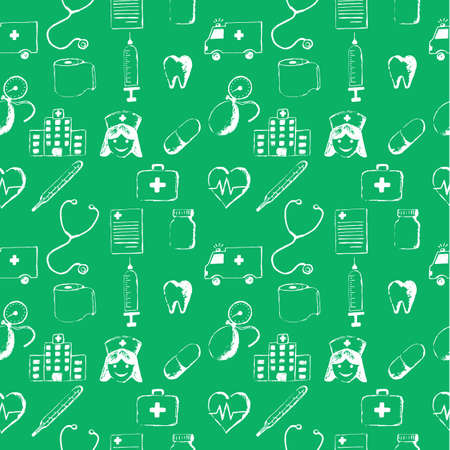 odontolith: Green seamless pattern-medical items. This illustration is drawn with a pencil. Stock Photo
