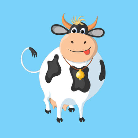 black and white: The white cow with black spots on a blue background. This drawing can be used for the design of packaging, advertising, etc.