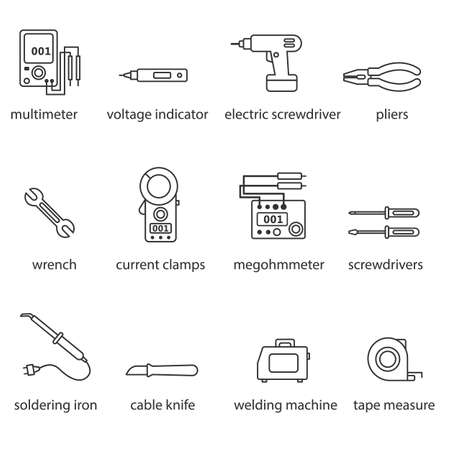 drill: The Electricians tools line icon set Illustration