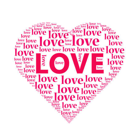 The illustration of a love heart on white background.