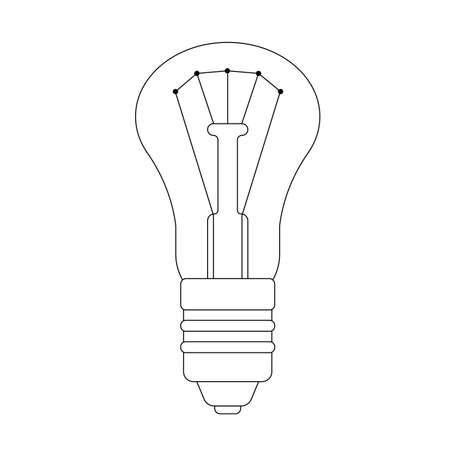 The contour illustration of lightbulb Иллюстрация