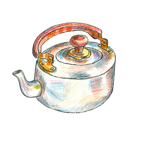The illustration of a metal kettle